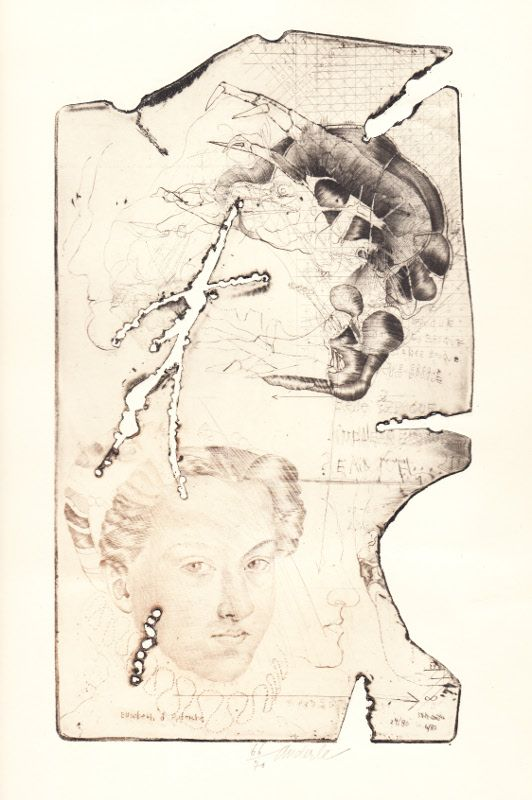 """Elisabeth d´Austriche  suchá jehla, mezzotinta, reliéfní tisk, 1980, 25,5 x 15 cm, z cyklu """"Malé fragmenty"""","""