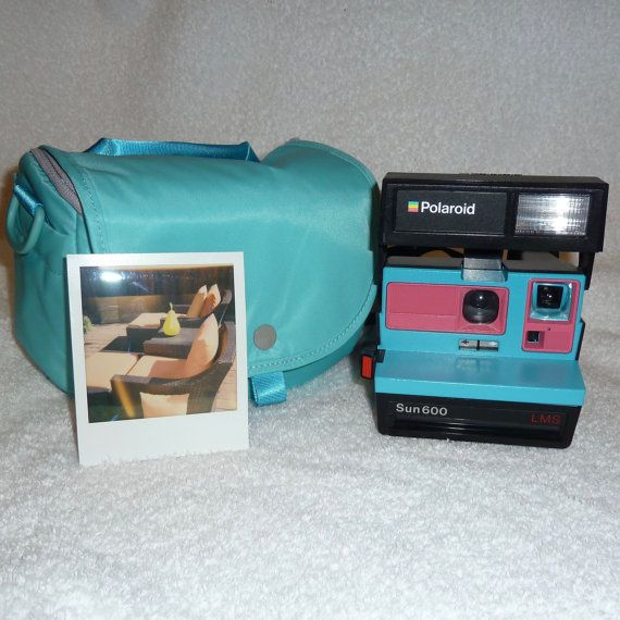 Upcycled Pink and Turquoise Polaroid Sun 600 by UpcycledClassics