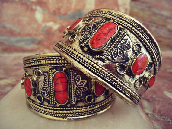 Pair of Gypsy Vintage pretty Cuff Bangles.Red coral Bedouin Cuff bracelet Egyptian classical kathak bangle African Tribal jewelry ornament