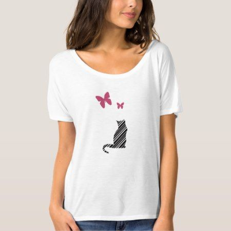 Pretty Butterfly  And Cat Tee Shirt - tap to personalize and get yours