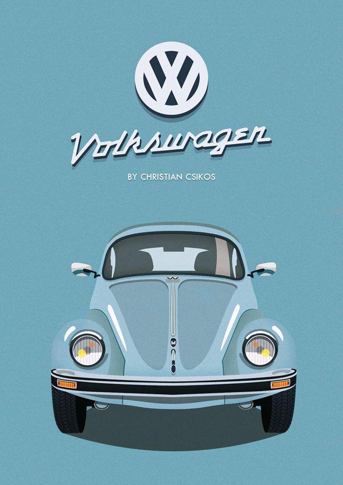 Volkswagen Beetle By Christian Csikos  #beautiful #graphicdesign #photoshop #illustrator #vector #graphic #volkswagen #Veteran