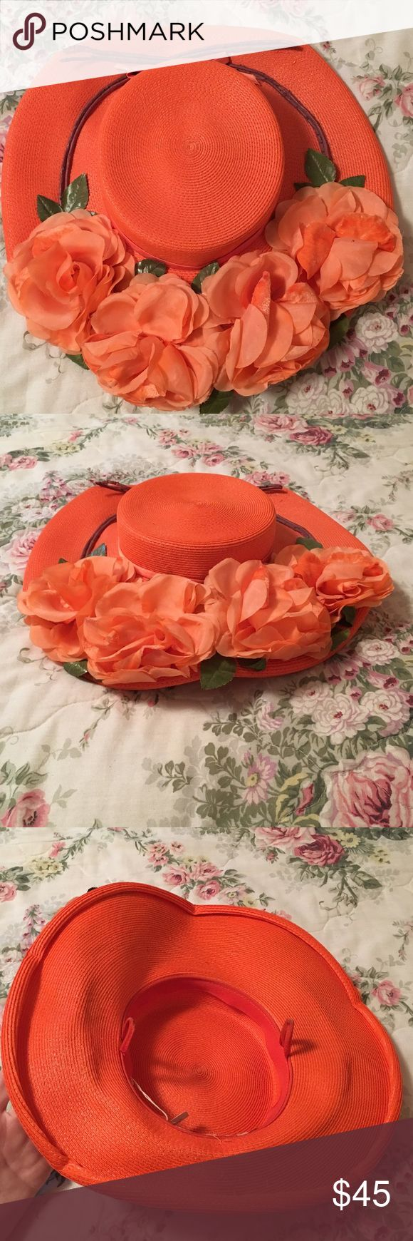 Antique Flat Flowered Orange Hat! Perfect for an Instagram-worthy dress up party! Flat orange hat, lots of flowers on top! Has the original price tag on it! By Parkridge Exclusives. Awesome condition. Feel free to make an offer or ask questions! Parkridge Exclusives Accessories Hats
