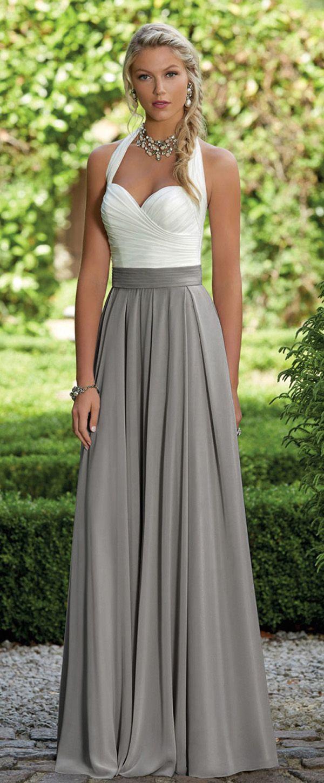 Unique Chiffon Halter Neckline Full Length A-line Bridesmaid Dresses With Pleats