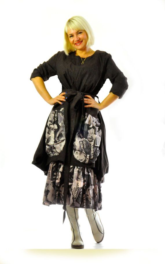 Black dress with big pockets/Maxi loose cotton by Gabygaclothes
