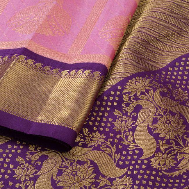 Handwoven Pink Korvai Kanjivaram Silk Saree With Zari Checks & Iruthalaipakshi M... 10