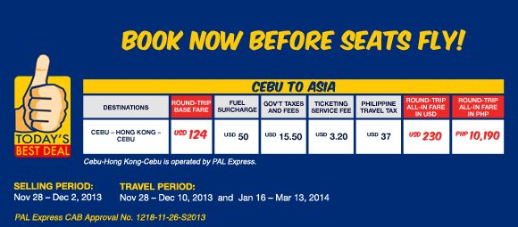 PalExpress 2014 Special Deals Cebu to Hong Kong for as Low as P10,190 Roundtrip