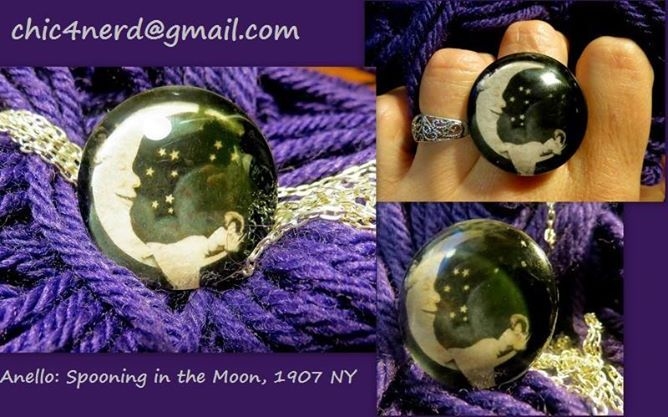 Anello (cameo 30mm)  Soggetto: Spooning in the Moon_A. C. Bosselman & Co., NY- 1907  #vintagemoon #moon #spooning