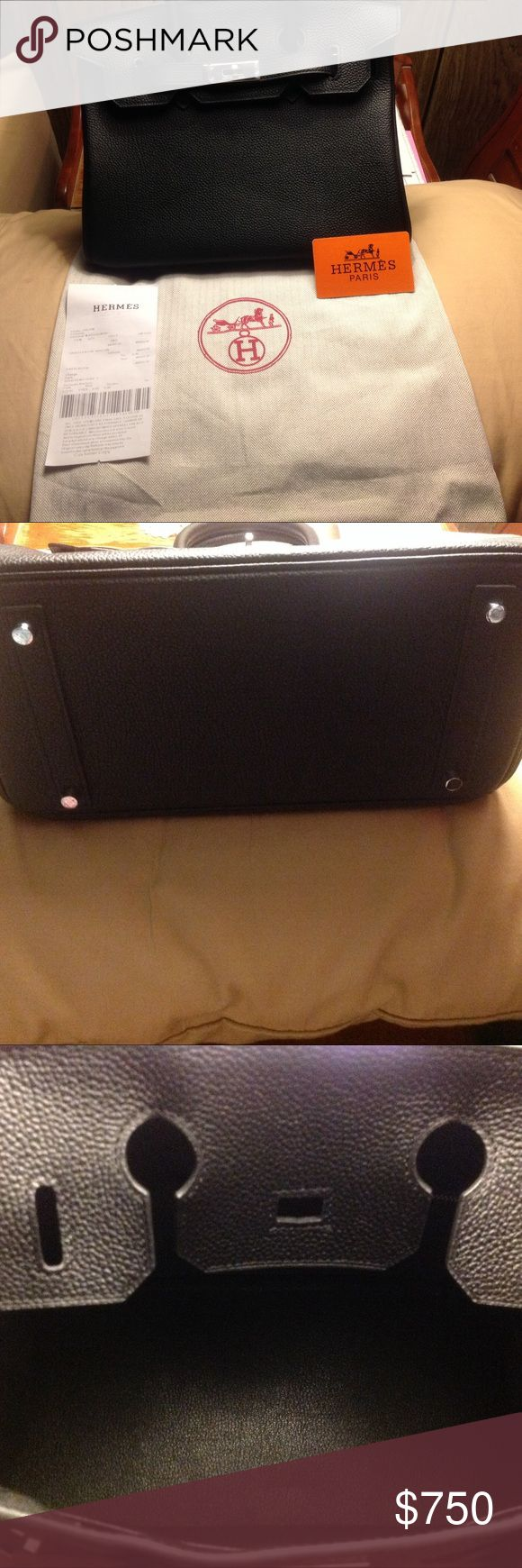 Black Leather Birkin handbag 30 cm All black leather never used handbag Hermes Bags