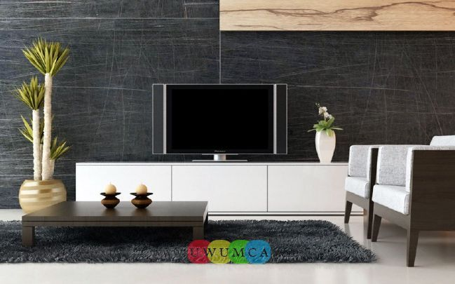 Living Room:Modern TV Wall Units 15 In White Color Decorating Brazilian Living Room And Lighting With Sofa Furniture Coffe Table Chairs Rug Design Decor For Small Luxury Living Room Decor of an Art Collector by Gisele Taranto