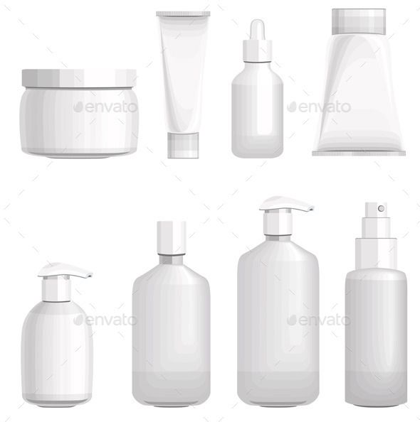 Set with Different Cosmetic Bottles