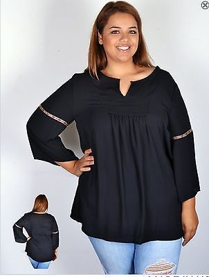 Plus Size Long Bell Sleeve Black Peasant Womens Blouse Top