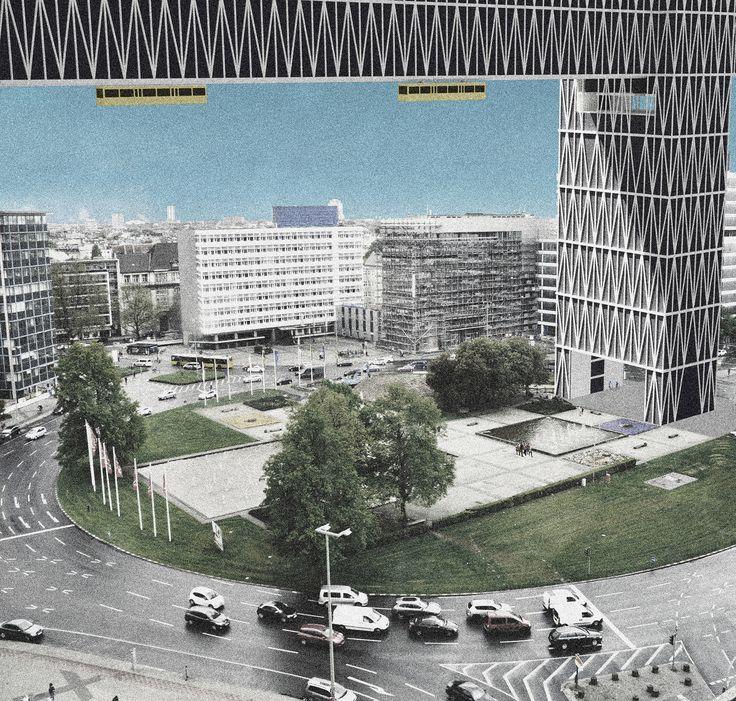 """Förderpreis Werkbund Berlin 2017 Visionen für den Ernst-Reuter-Platz Visualisierung zum Projekt """"Bandstadt Berlin"""" Patricia Loges"""