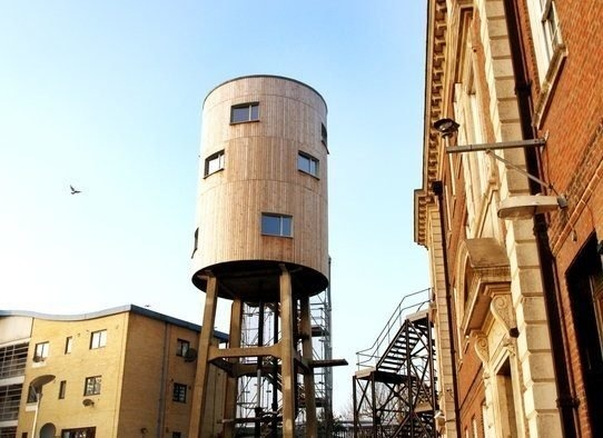 You can rent this water tower flat in London - comes with a bedroom, kitchenette, and bathroom.Water Towers, Old Buildings, Tom Dixon, Towers House, Green Buildings, Interiors Design, Luxury Penthouse, London Rental, Design Blog