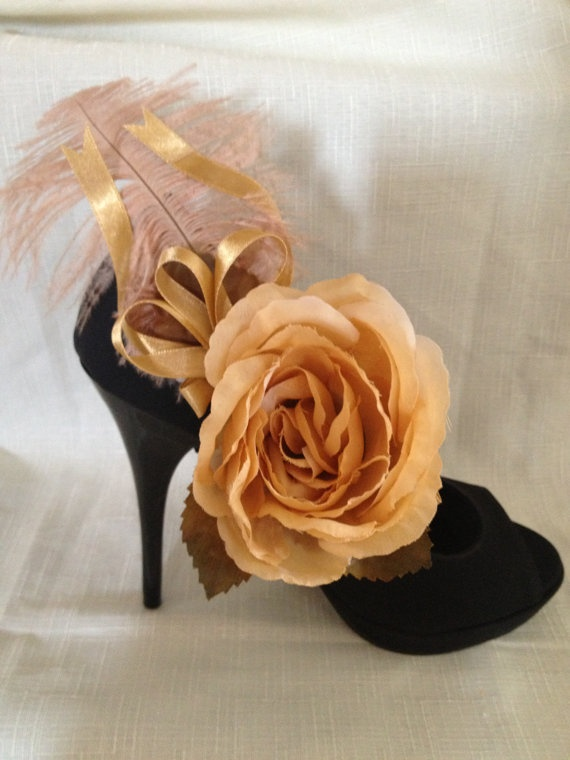 Cream and champagne shoe clips by DesignedbyDivas on Etsy, $45.95