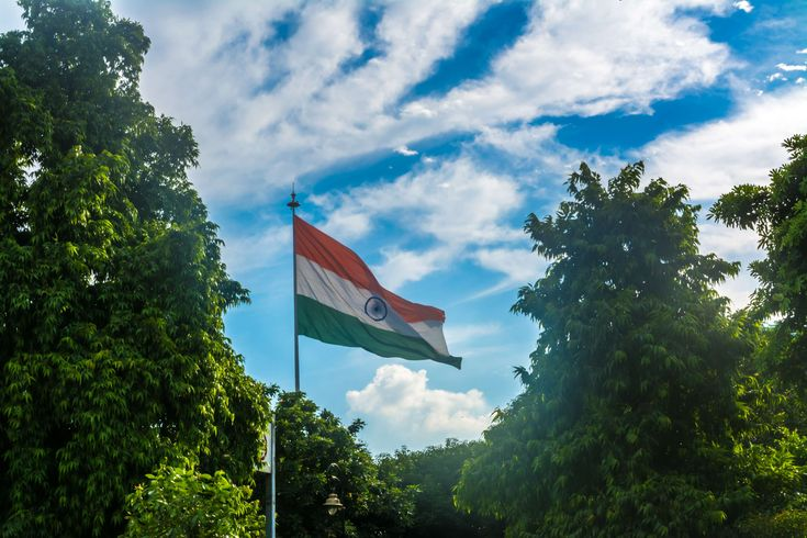 #ashok #ashok chakra #blue #chakra #clouds #flag #green #india #indian #indian flag #orange #sunlight #sunshine #tiranga #trees #tricolor