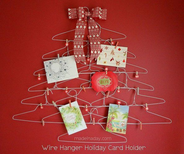 quirky wire hanger holiday card holder, christmas decorations, closet, crafts, seasonal holiday decor