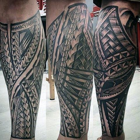 Mens Polynesian Shaded Black And Grey Leg Sleeve Tattoo