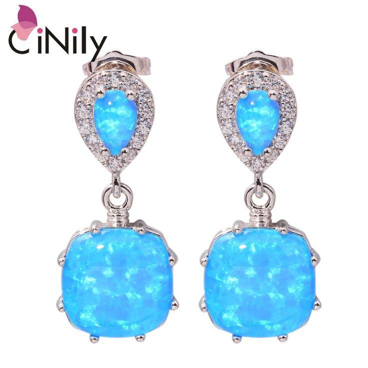 """Blue Fire Opal Cubic Zirconia Silver Earrings Wholesale Retail Hot Sell For Women Jewelry Stud Earrings 1"""" OH3512"""