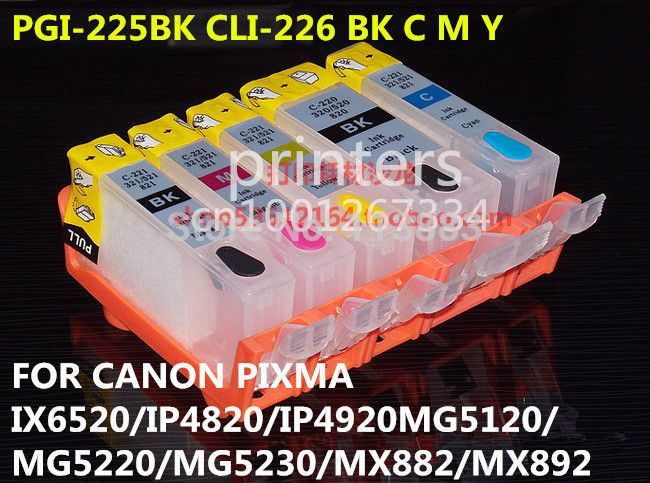 PGI-225 CLI-226 Refillable Ink Cartridge For Canon PIXMA IX6520 IP4820 IP4920 MG5120 MG5220 MG5320 MX882 MX892 With Chip 5color
