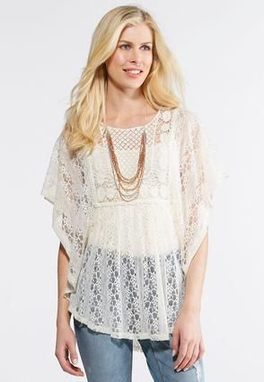 a03b69a0fa56ef Cato Fashions Plus Size Allover Crochet Capelet #CatoFashions | for ...