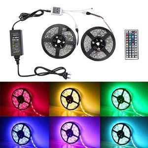 Badalink 10M Ruban LED Lumineuse Etanche 5050 RGB 300 SMD avec Changement de Couleur Flexible Strip Light + télécommande 44 Touches,…