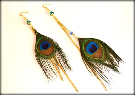 Feather Earrings Peackock Earrings Peacock by MarianaHandmade, $28.00