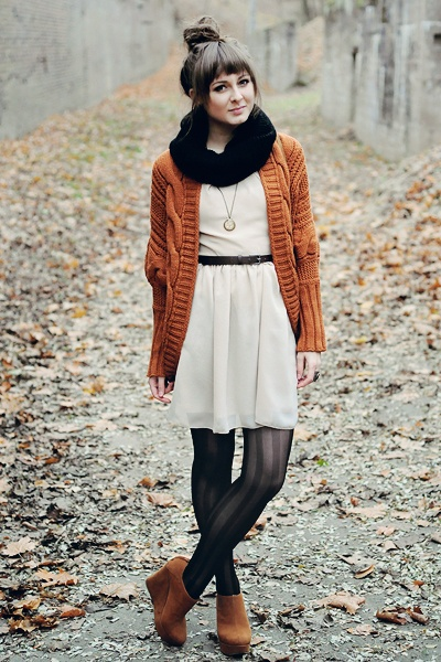 GET THE LOOK: white chiffon cinched waist burnt orange knit cardigan black opaque tights cognac wedges black thin belt black knit circle scarf