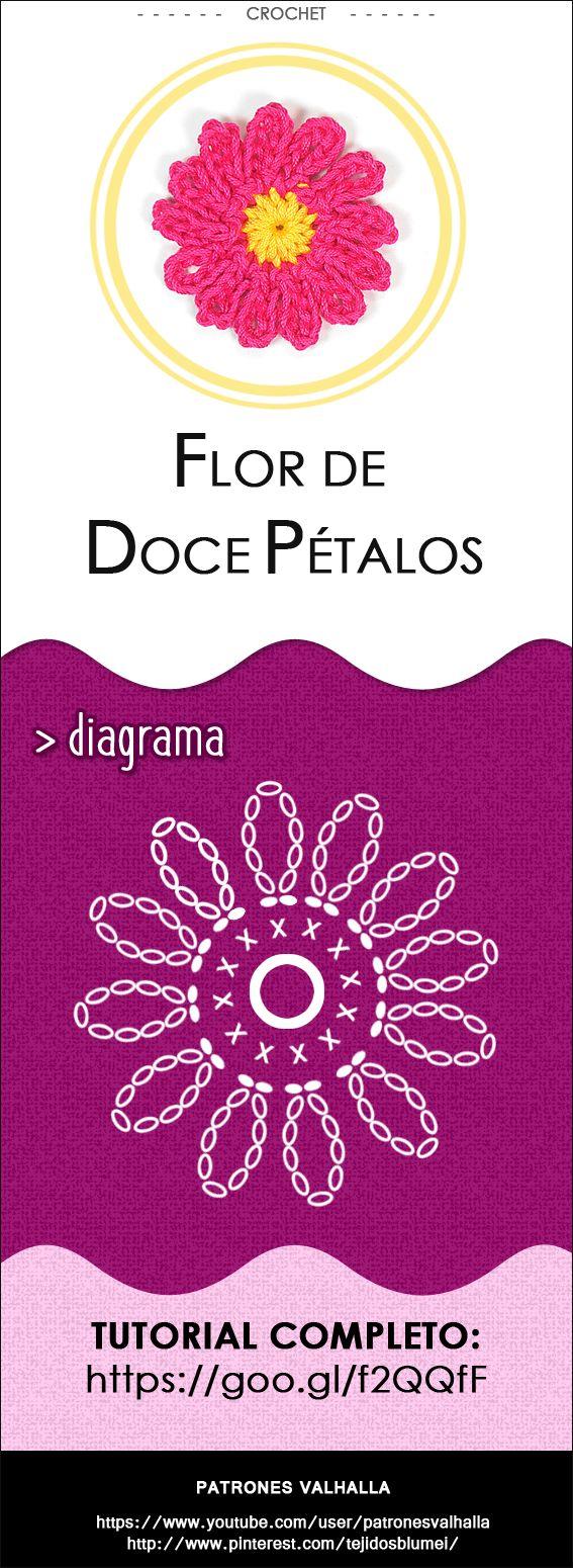 #Flor de Doce Pétalos a #crochet | #PatronesValhalla
