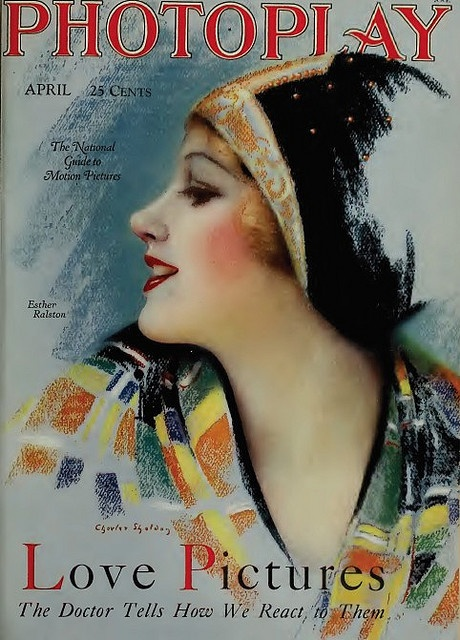 Photoplay - Vintage Movie Magazine Cover - Esther Ralston. Great 1920s flapper fashion illustration.