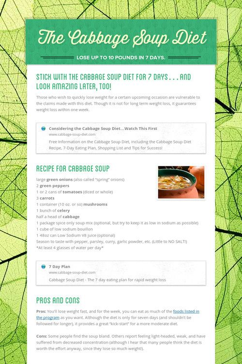 The Cabbage Soup Diet