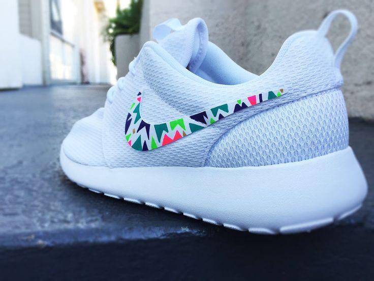 Custom Nike Roshe Run sneakers for women, Lime, purple, green, pink,