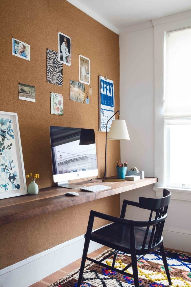 Wood Slab Wall Home Office Transitional With Cork Board Contemporary Clocks