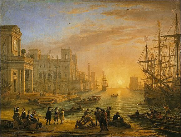 NICOLAS POUSSIN  peintre français du XVIIeme  siècle  PORT AU SOLEIL COUCHANT