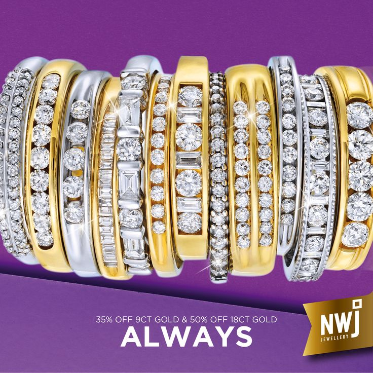 At NWJ, we're ALWAYS 50% off 18ct Gold and 35% off 9ct Gold and Silver. That's because there's no middle man in the journey from our factory to you.