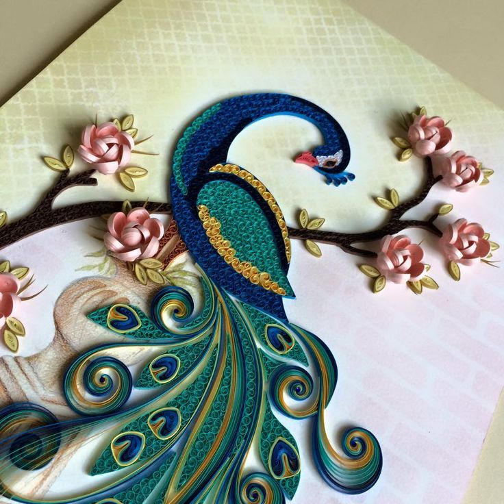 Paper quilling designs for peacock paper quilled peacock