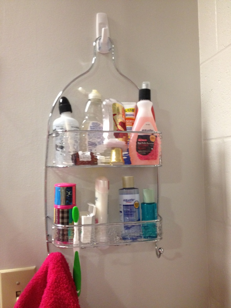 get a shower caddy and hang it on command hooks for organization off