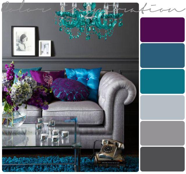 غرفة جلوس باللون البنفسجي والاازرق والتركوازي والرمادي Living Room Color Schemes Purple Living Room Living Room Turquoise