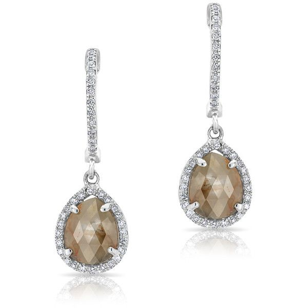 Anne Sisteron  14KT White Gold Mini Raw Diamond Pear Drops (106,575 INR) ❤ liked on Polyvore featuring jewelry, earrings, white, white gold jewelry, diamond jewelry, pear diamond earrings, white gold diamond earrings and white diamond jewelry