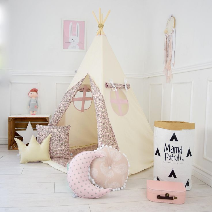 Childrens Teepee Play Teepee, kids teepee, childrens teepee, play tent, wigwam, zelt, kids teepee tent -Vintage Flowers[ set with pillows] by MamaPotrafi on Etsy