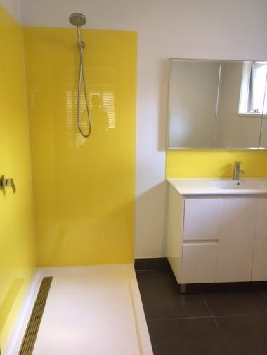 You are my #sunshine ... no fading wallflower for #splashbacks in this #bathroom. Luxury custom acrylic #splashbacks by Innovative Splashbacks® We supply homes and businesses across #Australia with our high class acrylic splashbacks & wall panels.