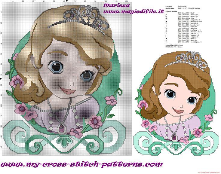 free cross stitch pattern Sofia the First cushion