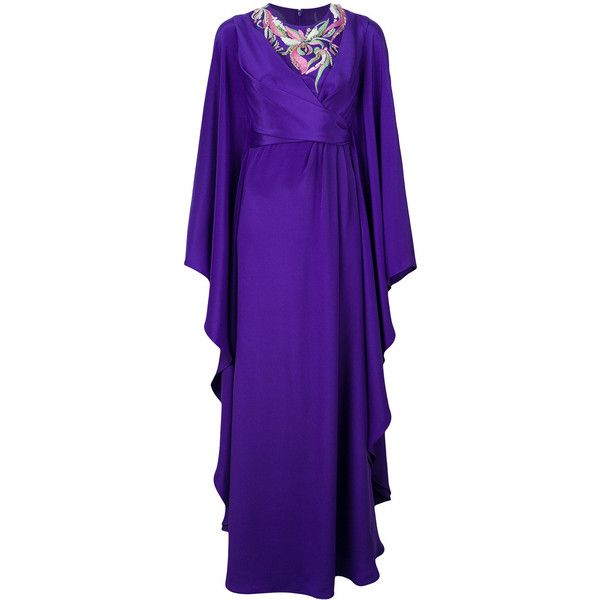 Emilio Pucci embroidered ruffle gown ($5,325) ❤ liked on Polyvore featuring dresses, gowns, purple evening dress, long sleeve evening gowns, embroidered dress, purple ball gowns and long sleeve fitted dress