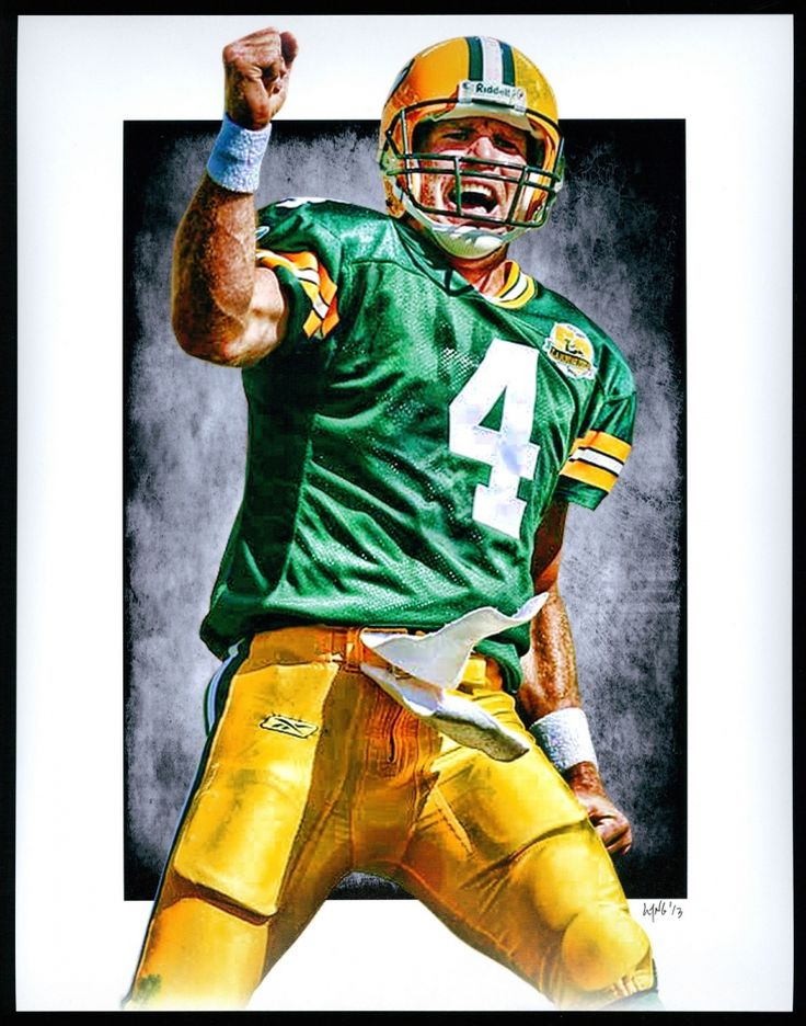 Brett Favre Packers Limited Edition 11x14 Signed Art Print by Jeff Lang (Artist Proof #2/3) at PristineAuction.com