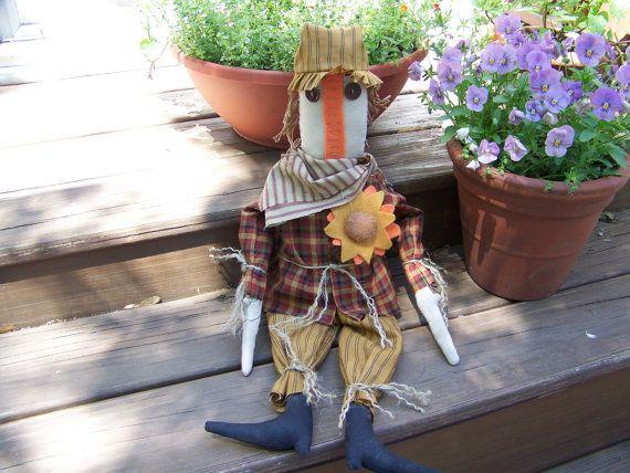 Primitive Large Scarecrow Doll by MondaysChildPrims on Etsy, $35.00