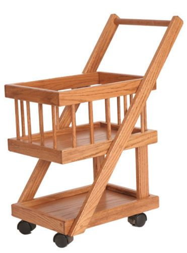 ec9b7fb7023a Kids Play Shopping Grocery Cart Pretend Store SOLID WOOD Wooden ...