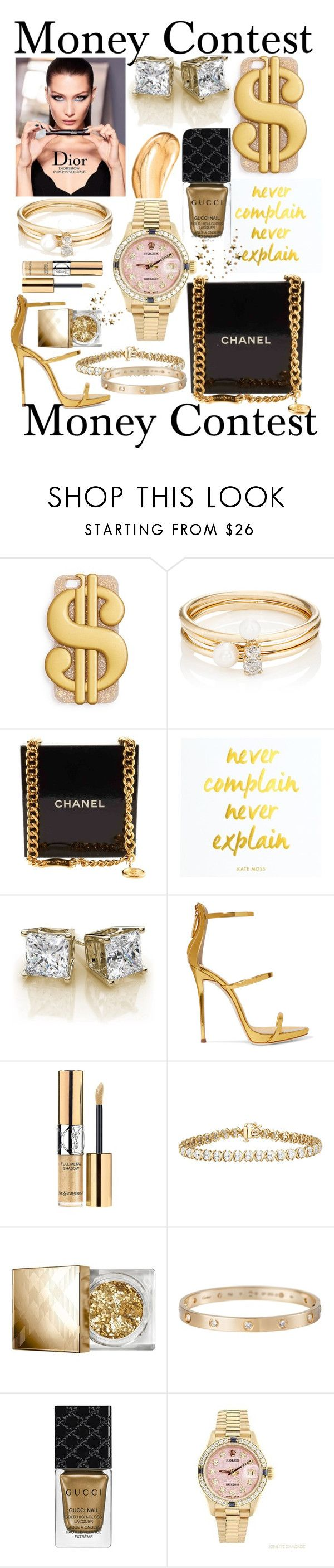 """""""Money Contest"""" by mandimwpink ❤ liked on Polyvore featuring ban.do, Loren Stewart, Chanel, Giuseppe Zanotti, Yves Saint Laurent, Burberry, Cartier, Gucci, Rolex and Tom Ford"""