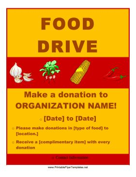 Featuring pictures of vegetables on a golden background, this free printable flyer announces a food drive and encourages participation. Free to download and print
