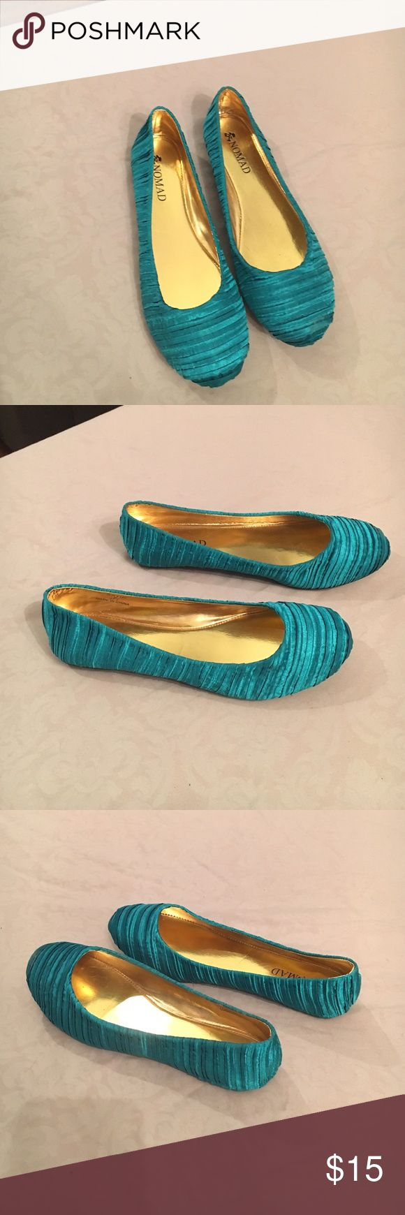 Satin Teal Flats- 8 New, never been worn outside, Nomad teal satin flats. Size 8 Nomad Shoes Flats & Loafers