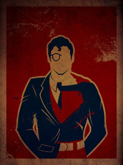 Clark Kent/Superman mash up print.