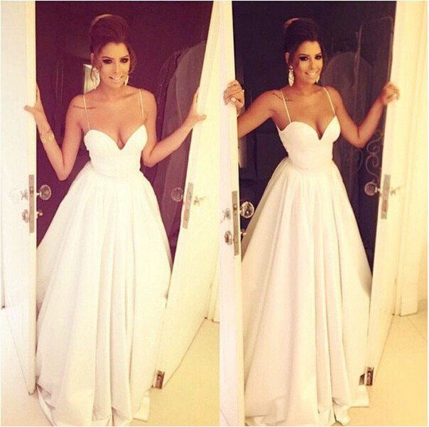 Superb Simple Brides Dress with Spaghetti Straps Satin Bridal Dress White Wedding Dresses Long